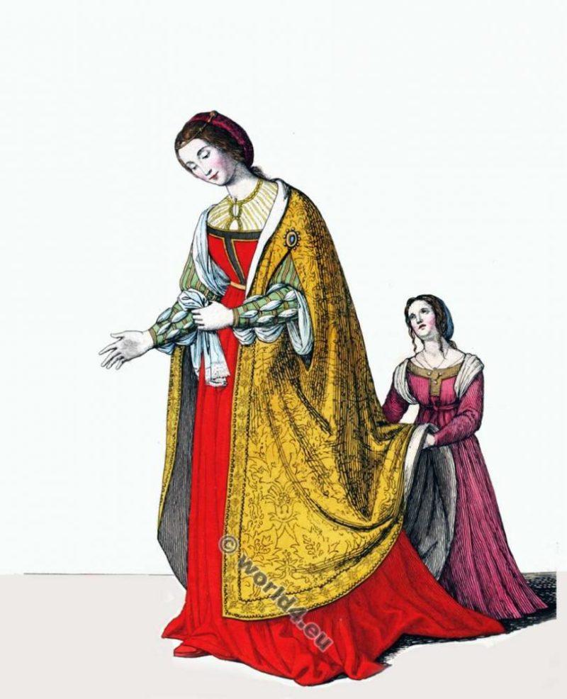 Eléonore de Portugal, Impératrice, vêtements, costumes, noblesse, médiévale, mode, gothique,
