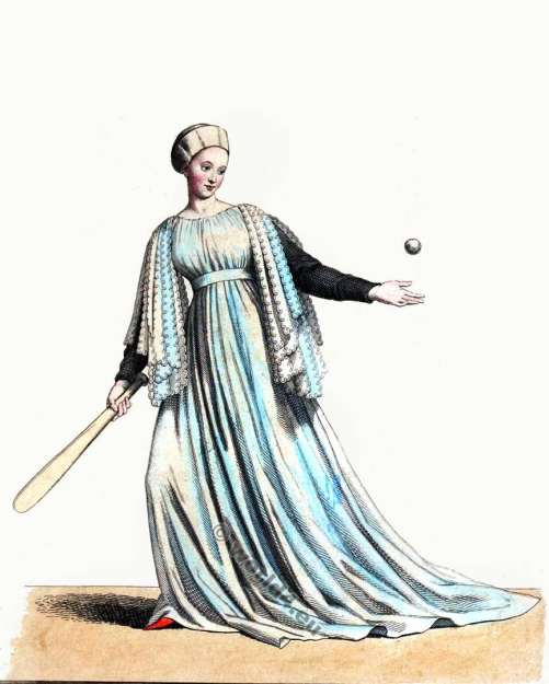 Jeu de Paume, Jeu de balle Mediaeval, Costume du 13ème siècle. Robe Bourgogne, Robe gothique, Âges histoire,Moyen costume,
