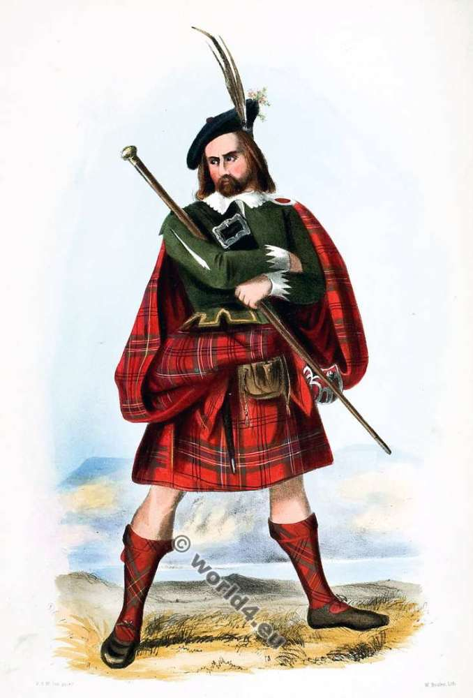 Clann Ghillean, or the Mac Leans. Clan. Tartan. Scotland national costume. Clans of the Scottish Highlands.