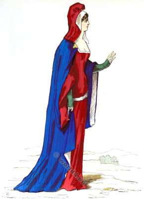 Nobility costume. Fashion middle ages. 14th century clothing. Medieval fashion history