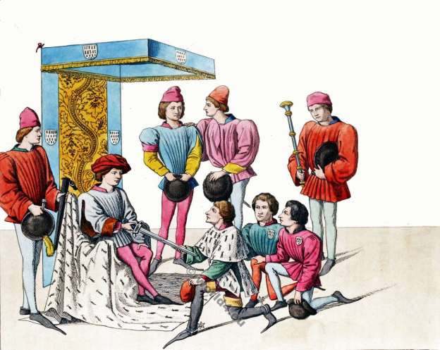 Chivalrous scene. Tournament. 15th century clothing. Knights. King René Ier d'Anjou. Middle ages costumes.