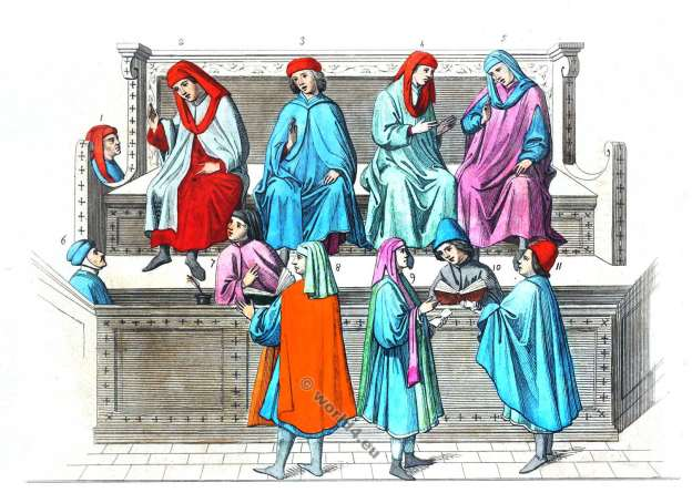 France 14th century costumes. Merchant Court. Middle ages fashion history. Mediedieval Gothic costumes. Burgundian fashion.