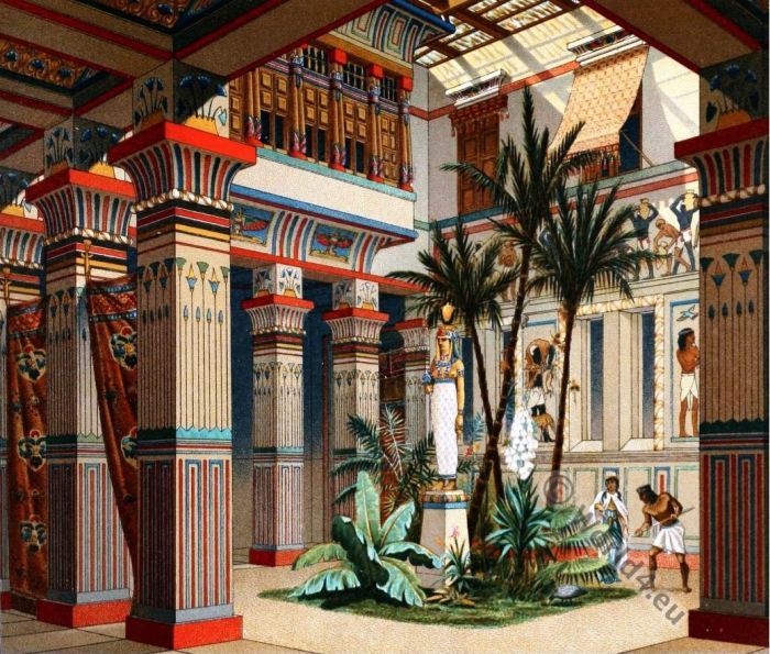 Egyptian costume history, fashion history, Egypt Ancient architecture, Casa egipcia, Auguste Racinet