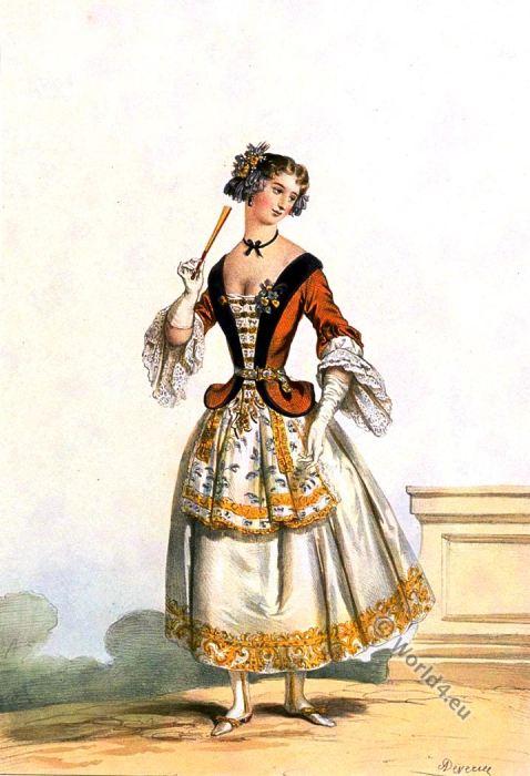 Costume de bal sous Louis XIV. La mode baroque. 17ème siècle. Achille Devéria.