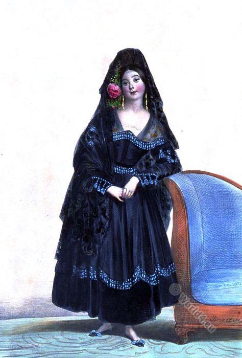 Marie Menessier-Nodier. Spanish lady. Maja costume.