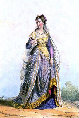 Dame Romaine. Suit. Renaissance style. 16th century fashion.