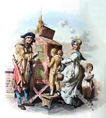 Hurdy-gurdy. Organ grinder. Great Britain Costume. Neoclassical fashion