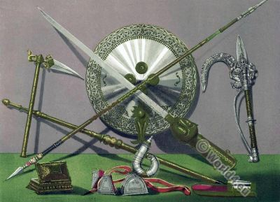 India armour. Ornamented Weapons. Koftgari-work. Kotli artisans. bidri-work. wootz. brass-work. middle ages.