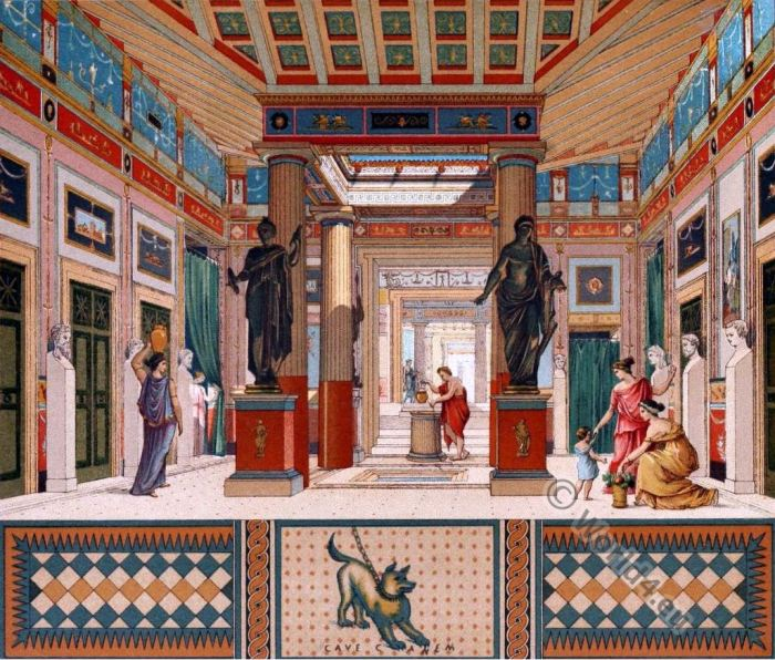 Pompeii house, Auguste Racinet, casa, Ponpeya, Roman, architecture