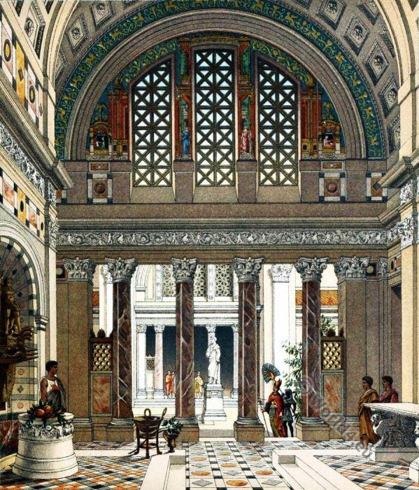 Ancient, Roman, Palace, Auguste Racinet, architecture
