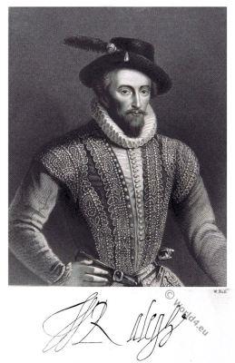 Sir Walter Raleigh. Elizabethan era. Tudor costume. 16th century. fashion