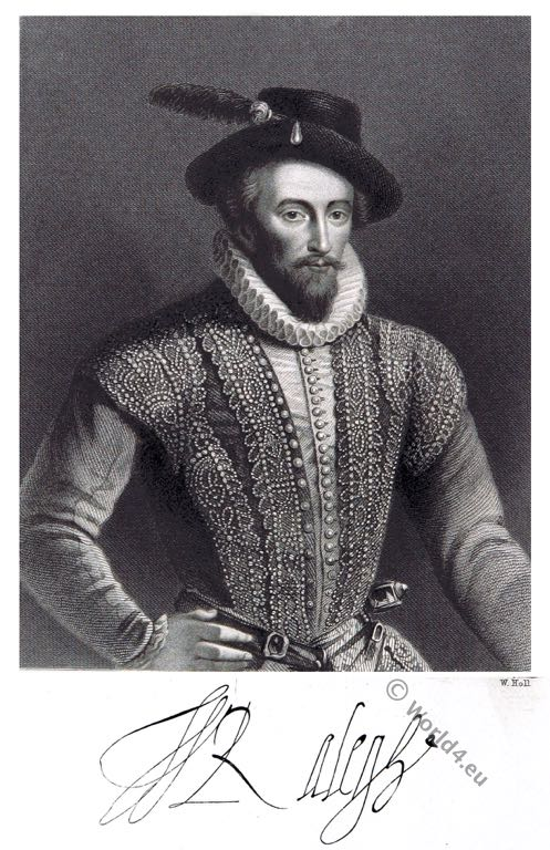 Sir Walter Raleigh. Elizabethan era. Tudor costume. 16th century. fashion