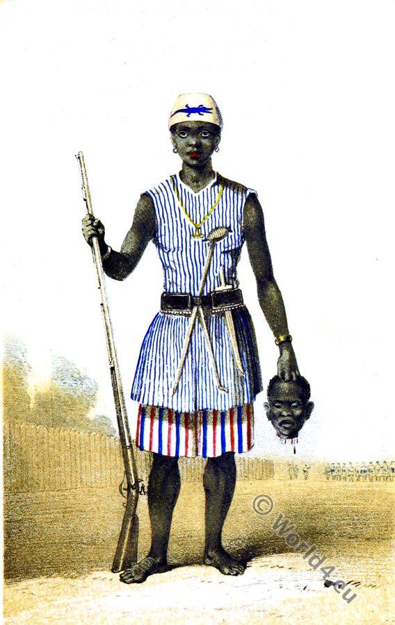 Dahohman Army. Amazon soldier. Dahomey Women Warriors. Africa military