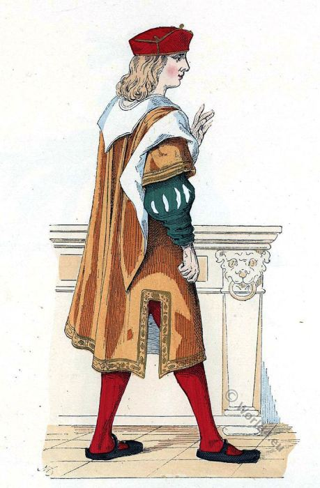 French merchant. 16th century costume. Renaissance fashion.