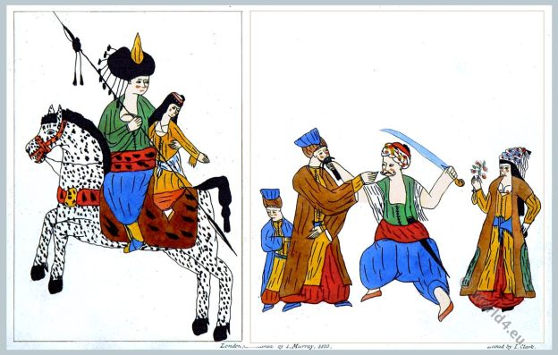 Turkish Drawings. Ottoman Empire. Costumes.