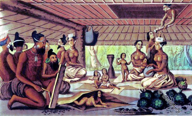 Radack Islands. Marshall Islands. Polynesia. Costumes. Architecture. Tattoo