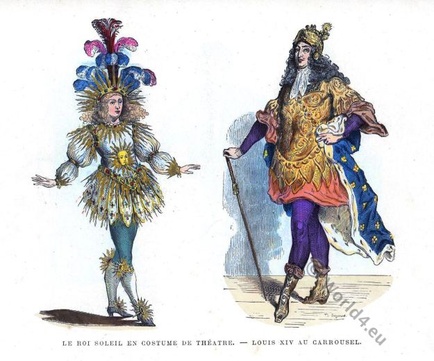 French Sun King. Louis XIV. Baroque fashion. theater costume