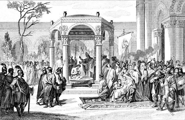 Baptême, Baptism, Clovis, Merovingian, king, Mérovingiens, 5th century, clothing