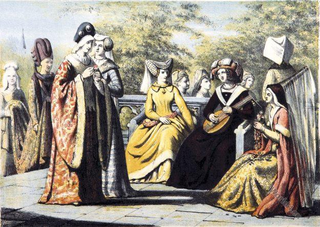 15th century clothing, Dutch noble women, Burgundian fashion, medieval costumes