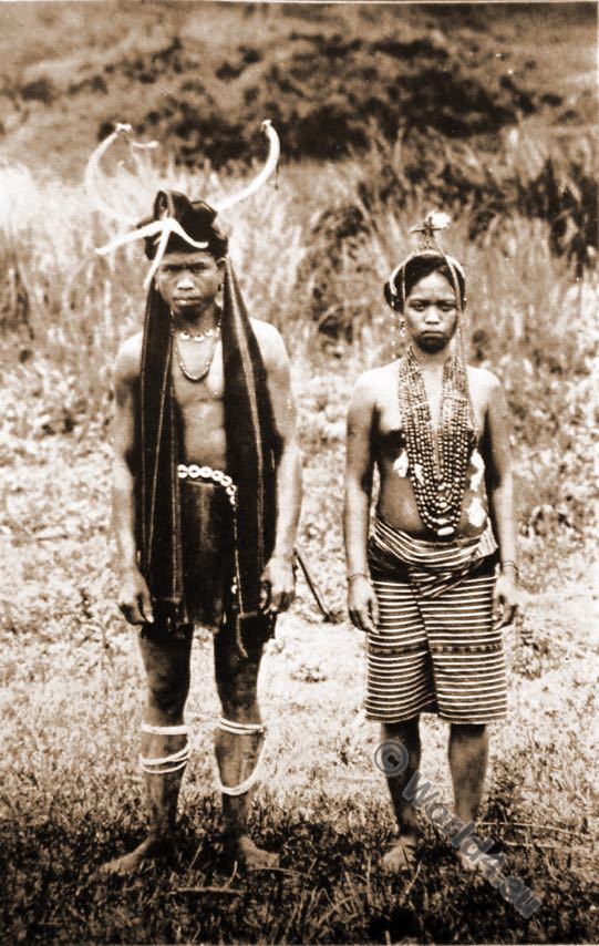 Igorot Native.head-hunters, costumes, tribe, Ifugao couple. Philippine Islands.