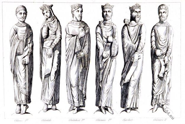 Merovingian kings. Clovis 1er, Chlotilde, Childebert 1er, Chlotaire 1er, Charibert, Chlotaire II