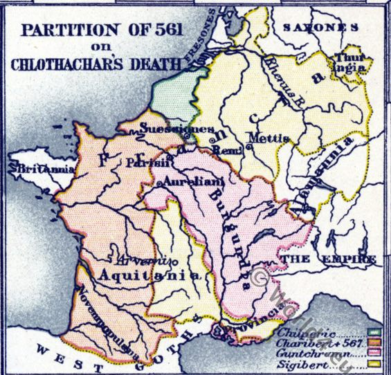 Chlothachar, Merovingian, map, Historical atlas, France, Middle ages history