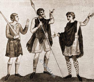 Saxon cross-gartering, Anglo-Saxon, costume, history, England medieval fashion