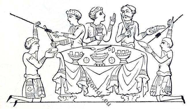 Saxon, Anglo-Saxon manuscript, costume, history, England medieval fashion