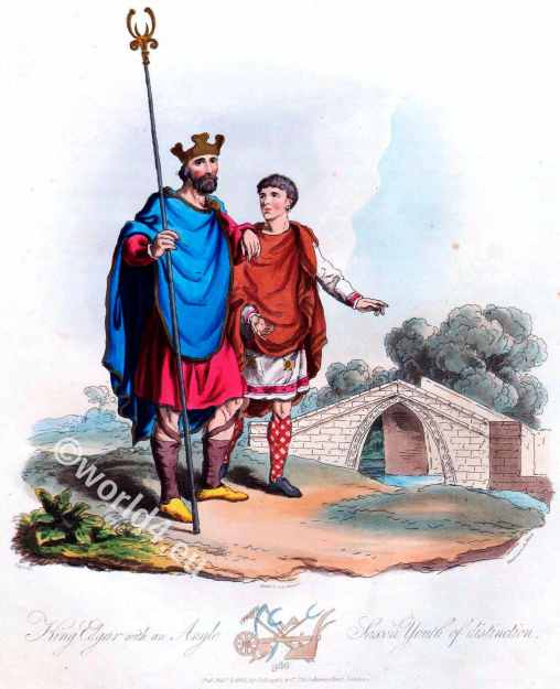 Edgar the Peaceable, England 10th century, Anglo saxon costumes