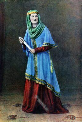 Anglo-Saxon lady costume, England medieval fashion, dress