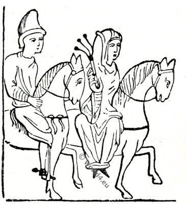 Side-saddle, Saxon, Anglo-Saxon manuscript, costume, history, England medieval fashion,