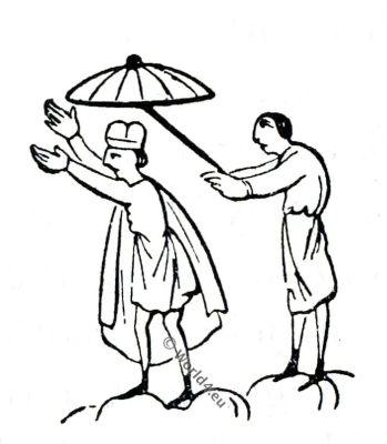 Umbrella, Saxon, Anglo-Saxon manuscript, costume, history, England medieval fashion