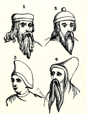 Norman, head, coverings, caps, medieval fashion, 10th century costumes