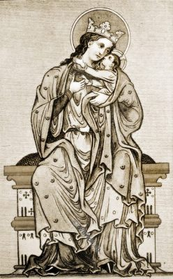 Virgin, Child, lady of rank, 13th century fashion, medieval England costumes, manuscript