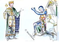 Costumes, Middle ages, Knight, England King, 12th century,