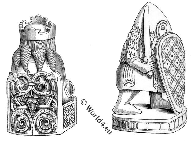 Chessmen,12th century,game, chess,Middle Ages,Henry Shaw, medieval,mantle, clamys,Antiquities