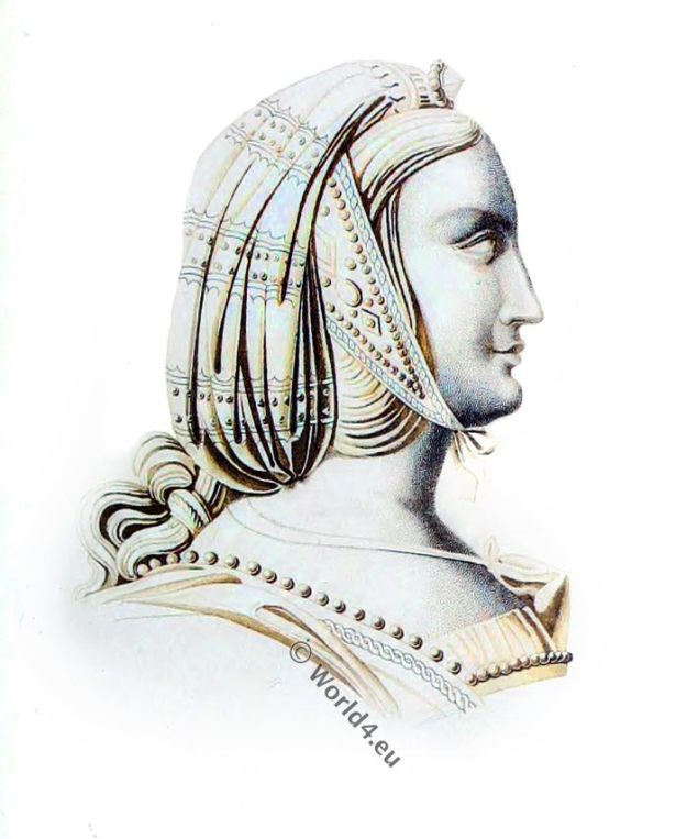 Headdress, 15th century, Henry Shaw, middle ages, fashion