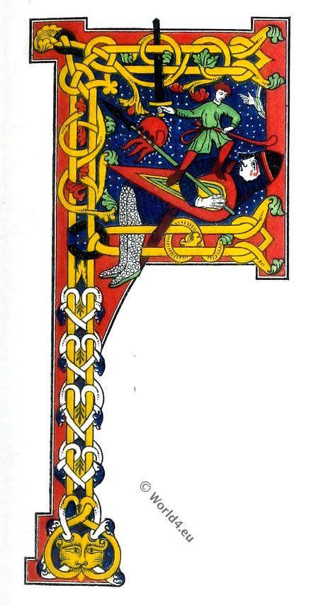 Initial, letter, manuscript, drop-cap, middle ages, 12th century, Henry Shaw