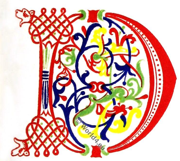 Initial letter, middle ages manuscript