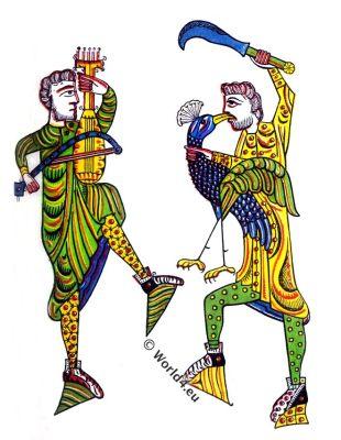 Minstrels,Moorish,arabesque ornaments,Medieval manuscript, 12th century,costume