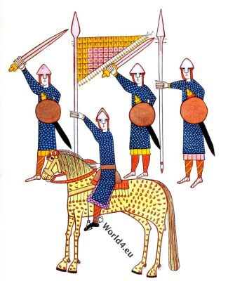 Spanish warriors,armour, 11th century,middle ages,medieval,illustration,Henry Shaw,Anglo-Norman soldiers
