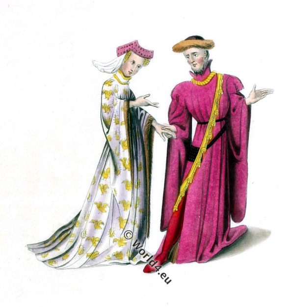 Courtiers, Richard II, Knight, Middle ages, medieval, costume, dress, gown, nobility, England, Plantagenet, fashion, history, Harleian, Archaeologia, Henry Shaw,
