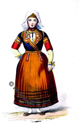 Brittany, peasant bride, costume, national, dress, france