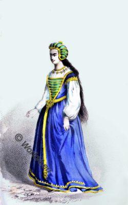 English Lady, 15th century, costume fashion, Tudor costume, middle ages, medieval fashion, court dress