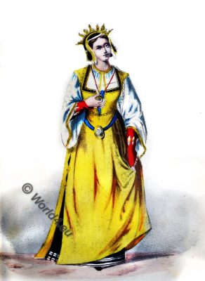 Middle ages costume 13th century, medieval, duchess, Italy