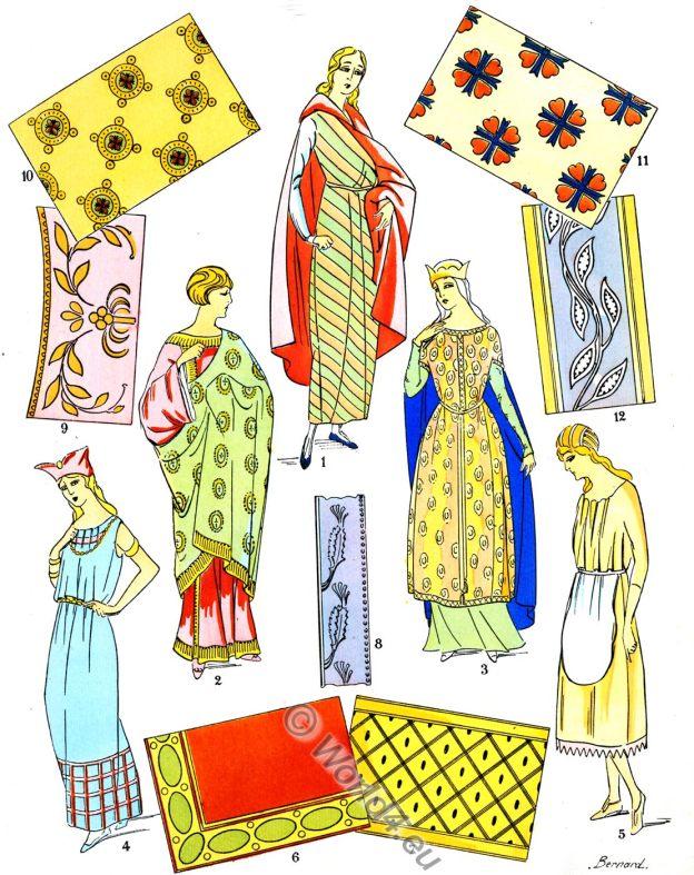 gaul, ancient, fabrics, merovingian,embroideries, fashion, history, Paul-Louis de Giafferri