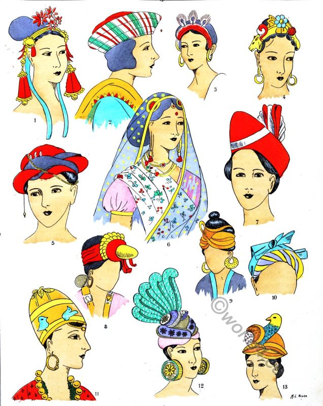 India, Headdresses, Hats, Coiffures, Fashion, History, Paul Louis de Giafferri