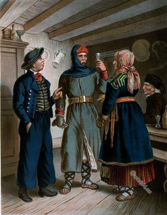 Lithuania, traditional folk, costumes, 19th century, Albert Kretschmer