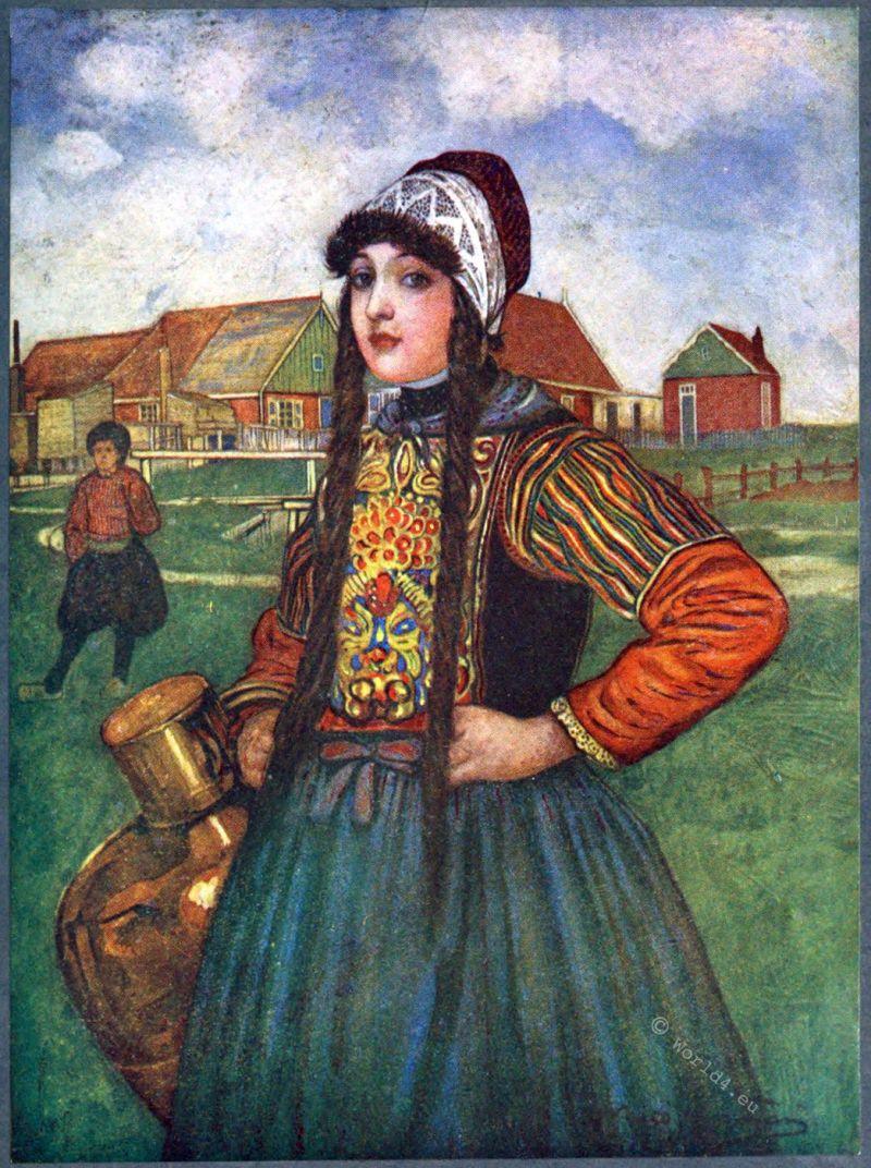 Dutch costume. Girl of Marken, Holland, 1910.