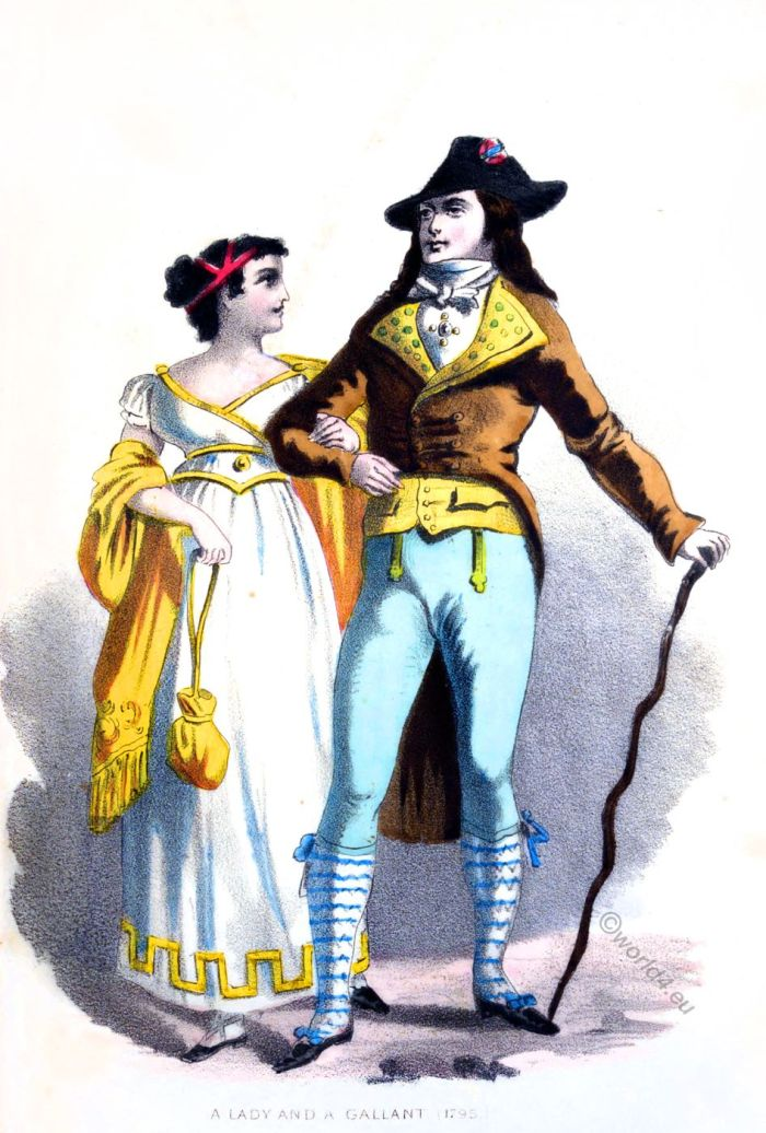 A Lady and a Gallant. France 1795. Merveilleuse and Incroyable. French fashion of the Directoire.